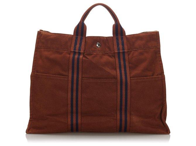 Cabas Hermès Hermes Brown cabas MM Toile,Tissu Marron,Bleu,Bleu Marine ref.172307