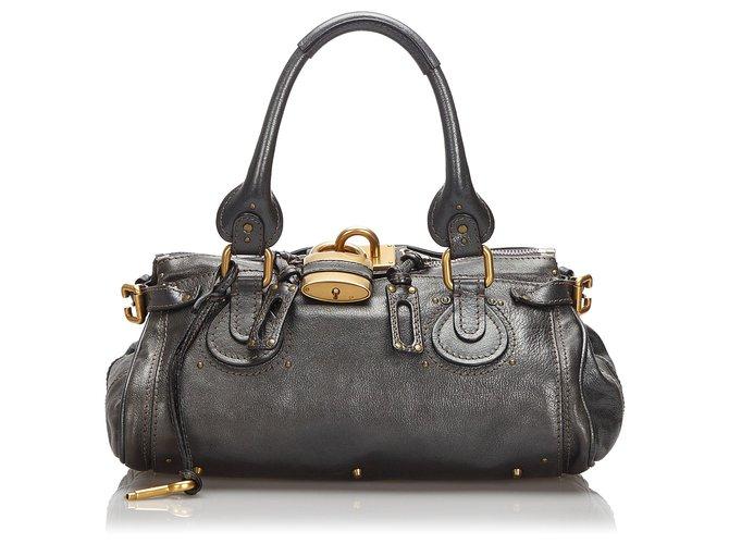 Chloé Chloe Black Leather Paddington Handbag Handbags Leather,Other Black ref.172540