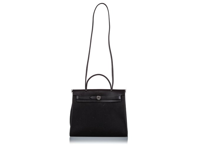 Hermès Hermes Black Canvas Herbag Zip 31 Handbags Leather,Other,Cloth,Cloth Black ref.172542