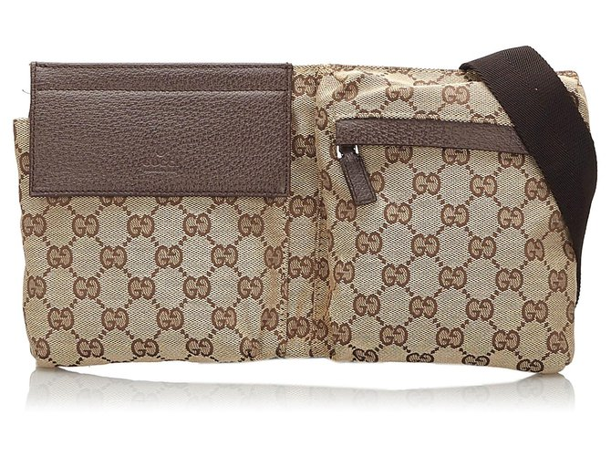 Pochettes Gucci Gucci Brown GG Sac de ceinture en toile Cuir,Autre,Toile,Tissu Marron,Beige ref.172570