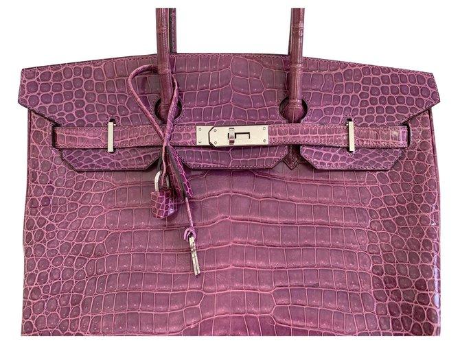 Sacs à main Hermès Birkin 35 Cuir Rose ref.172819