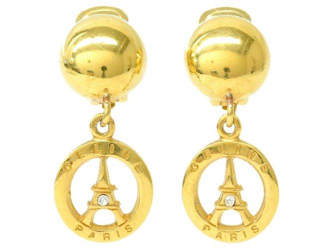 Boucles d'oreilles Céline Clips d'oreilles Céline Tour Eiffel Plaqué or Doré ref.172822