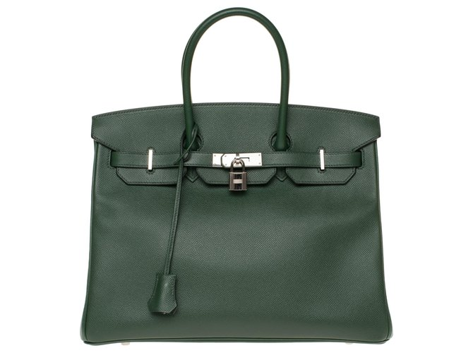 Sacs à main Hermès Hermès Birkin 35 en cuir Epsom vert anglais, garniture en métal argent Palladié, en excellent état Cuir Vert ref.172825