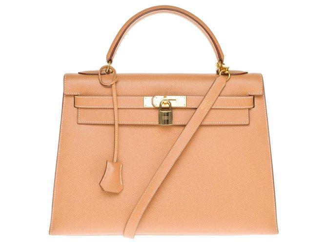 Hermès hermes kelly 32 courchevel gold leather shoulder saddle, gold plated metal trim Handbags Leather Golden ref.172903