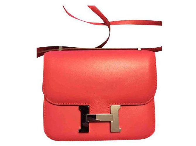 Hermès Hermes bag Constance 18 in Tadelakt Rose Lipstick leather Handbags Leather Silvery,Pink ref.173002
