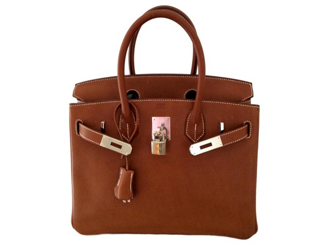 Hermès HERMES BIRKIN 30 Barenia Faubourg Handbags Leather Light brown ref.173025