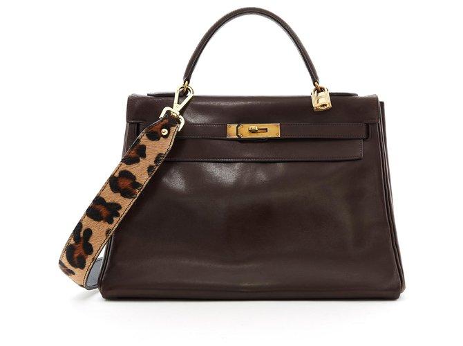 Hermès Kelly 32 CHOCOLATE Handbags Leather Brown ref.173114