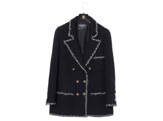 Chanel PERFECT BLAZER FR38 Jackets Wool Black ref.173144