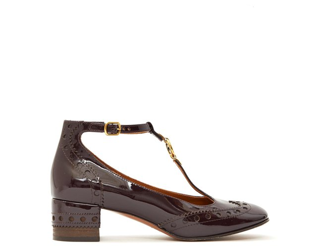 Chloé PATENT BABIES FR38.5 Heels Patent leather Dark red ref.173155