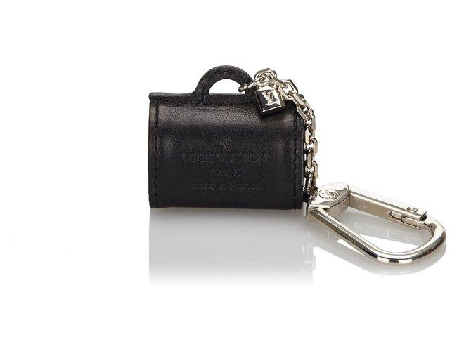 Décoration divers Louis Vuitton Porte-clés en cuir noir Louis Vuitton Cuir,Autre,Métal Noir ref.173217