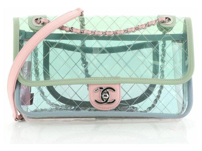 Chanel Chanel PVC splash bag Handbags Plastic Turquoise ref.173286