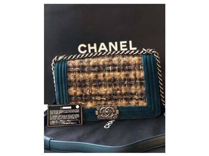 Chanel Chanel Boy Medium Bag Handbags Velvet,Tweed Brown,Blue,Dark brown ref.173347