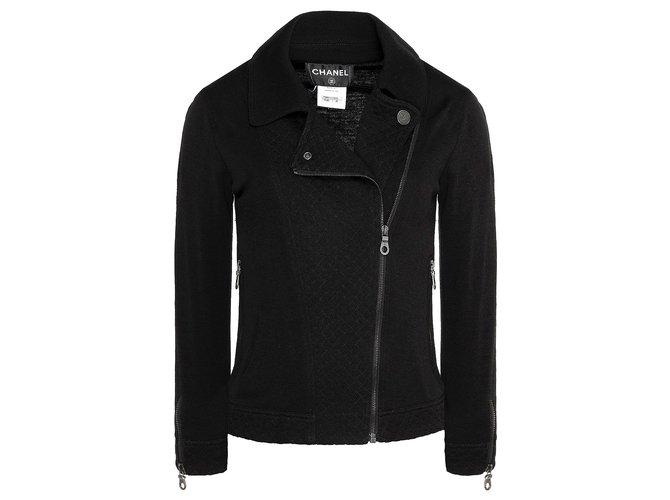 Chanel black biker jacket Jackets Wool Black ref.173413