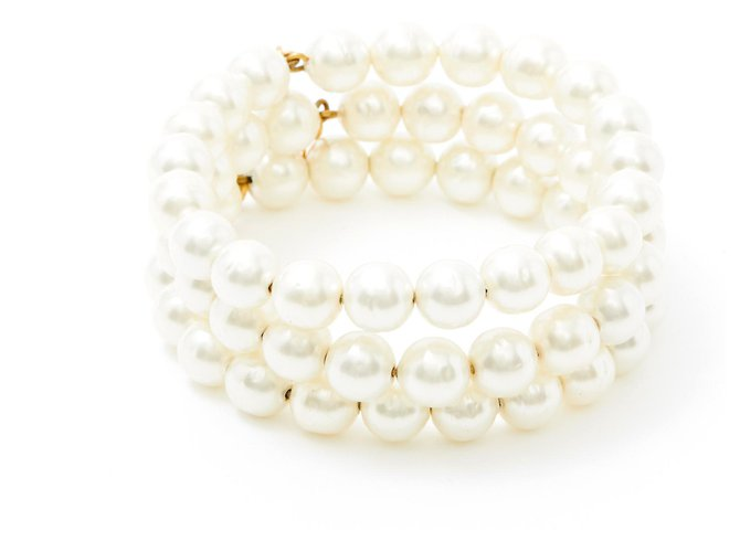 Chanel 3 PEARLS BRACELETS White  ref.173435