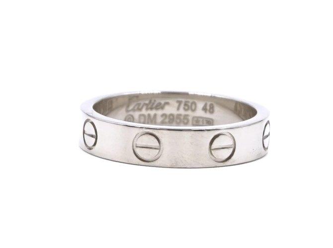 Bagues Cartier cartier 18K 750 Taille de bague Love Band 48 Or blanc Argenté ref.173563