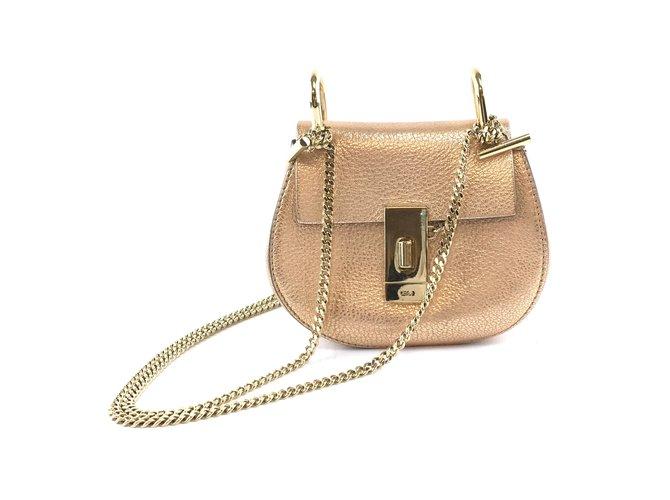 Chloé Chloé Drew Nano Metallic Gold Leather Shoulder Bag Handbags Leather Golden ref.173572