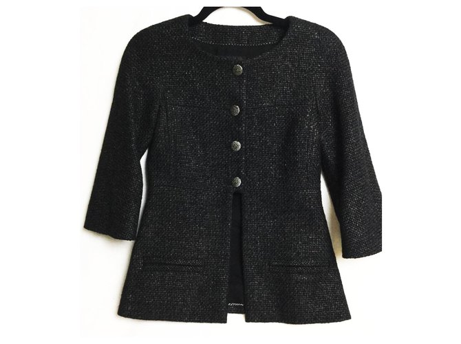 Chanel braided tweed jacket Jackets Tweed Black ref.173620