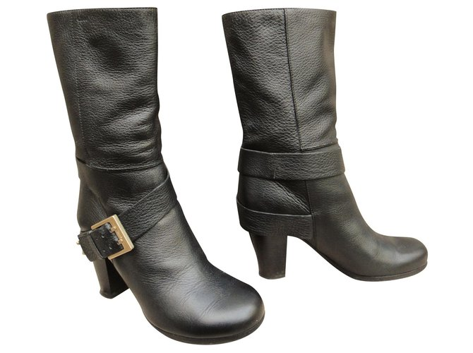 Chloé Chloé p boots 37,5 Ankle Boots Leather Black ref.173637