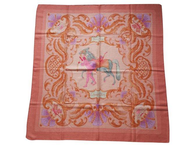 Hermès TURKISH HORSE Silk scarves Silk,Cashmere Pink ref.173673