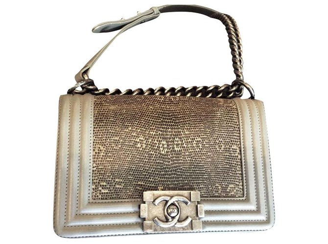 Chanel boy lizard skin Handbags Exotic leather Grey ref.173756