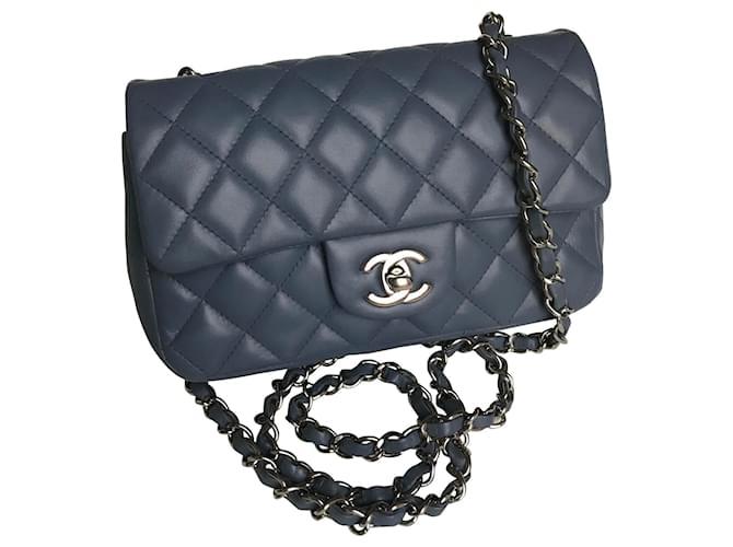 Chanel Classic Rectangular Mini Flap Bag with box Handbags Leather Blue,Grey ref.173789