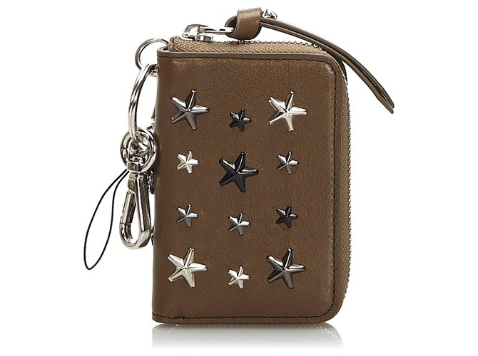 Jimmy Choo Jimmy Choo Brown Embellished Leather Wallet Misc Leather,Other Brown ref.173856