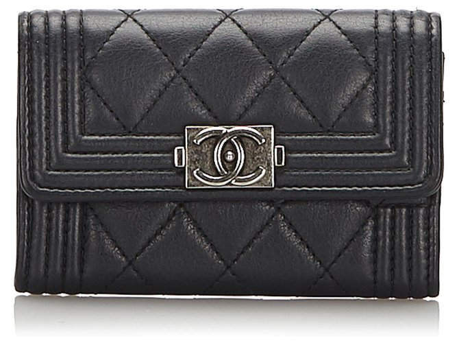 Chanel Chanel Black Leather Tri-fold Boy Small Wallet Misc Leather,Other Black ref.173860