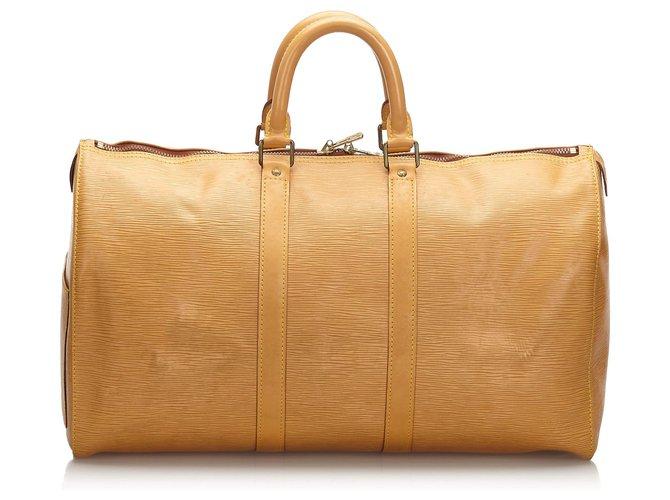 Sacs de voyage Louis Vuitton Louis Vuitton Brown Epi Keepall 45 Cuir Marron,Beige ref.173894