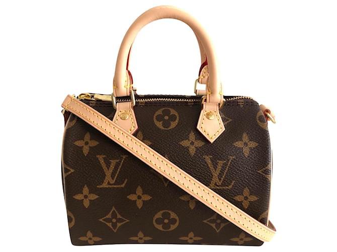 Louis Vuitton Louis Vuitton Nano Speedy Handbags Cloth Brown ref.173989