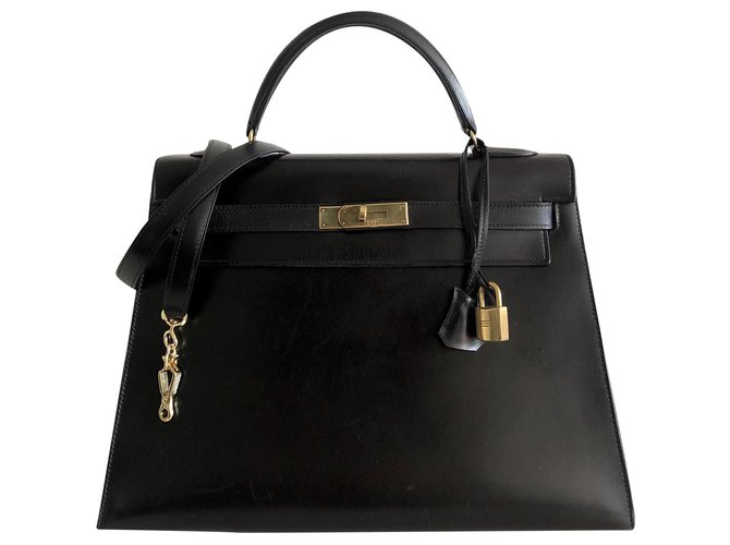 Hermès Hermès Kelly saddler 32 Black Box Handbags Leather Black ref.173992