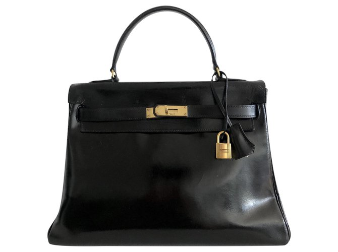 Hermès hermes kelly 32 Black Box Handbags Leather Black ref.173994