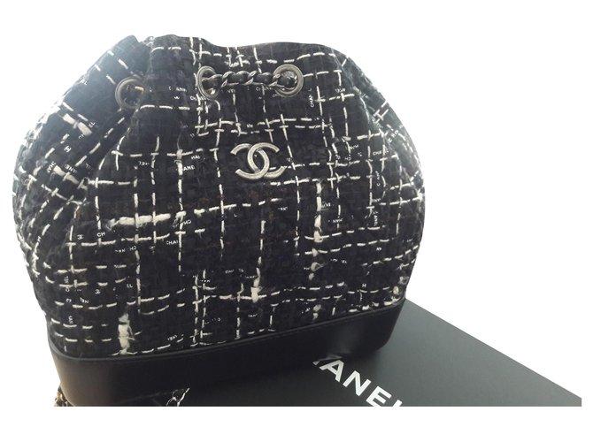 Sacs à main Chanel Sac à dos Gabrielle Chanel cuir et tweed ! Cuir,Tweed Noir ref.174003