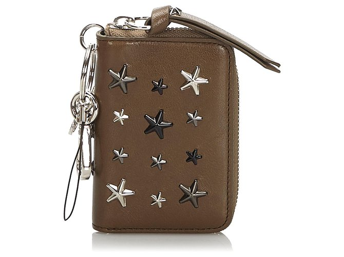 Jimmy Choo Jimmy Choo Brown Embellished Leather Wallet Misc Leather,Other Brown ref.174121