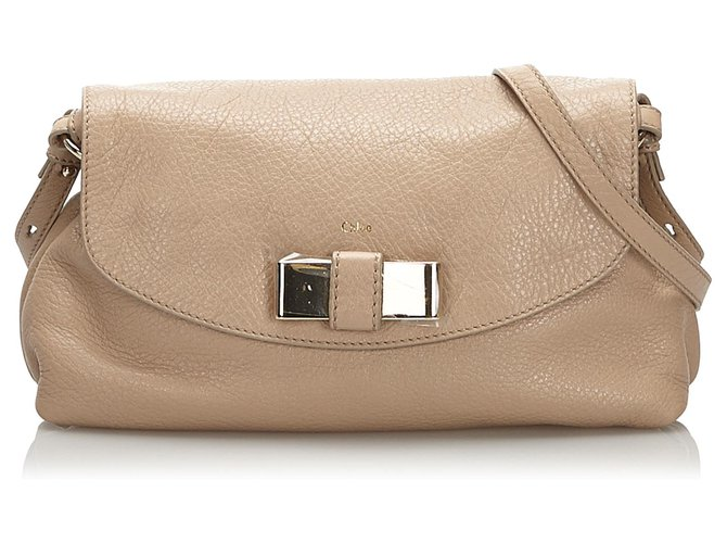 Chloé Chloe White Leather Lily Shoulder Bag Handbags Leather,Other White,Cream ref.174138