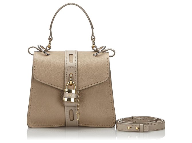 Chloé Chloe Brown Small Aby Shoulder Bag Handbags Leather,Other Brown,Beige ref.174306