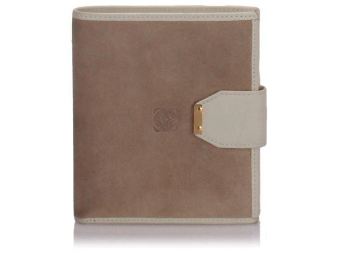 Loewe Loewe Brown Suede Small Wallet Misc Suede,Leather,Other Brown,Beige ref.174311