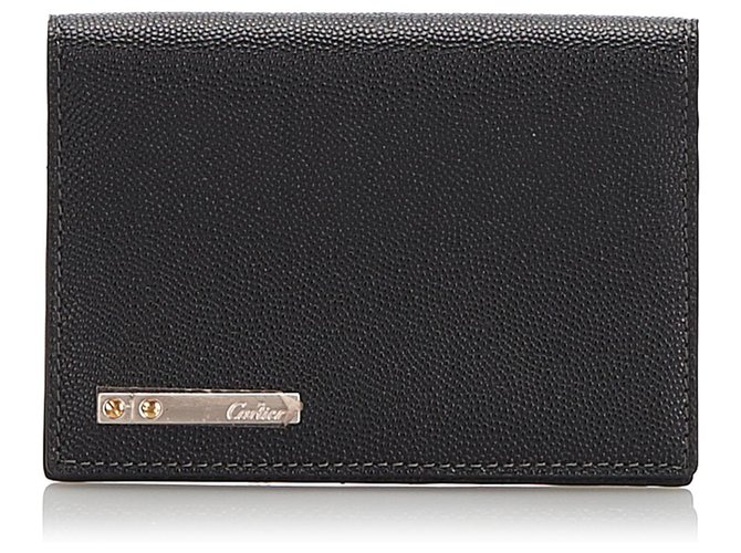 Cartier Cartier Black Santos Cowhide Leather Passport Cover Misc Leather,Pony-style calfskin Black ref.174323