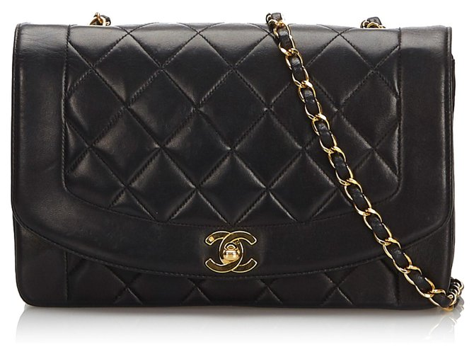 Sacs à main Chanel Chanel Noir Diana Flap Sac à bandoulière Cuir Noir ref.174339