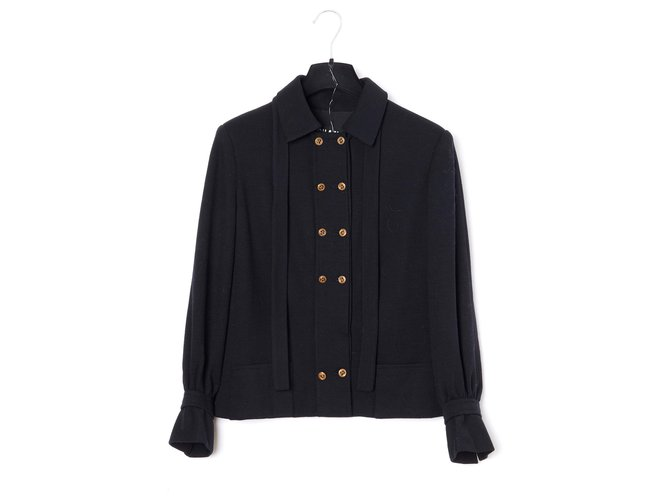 Chanel HAUTE COUTURE BLACK FR36 Jackets Wool Black ref.174400