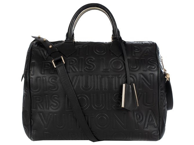 Louis Vuitton Sac Louis Vuitton speedy 30 in black imprinted leather, limited series from fall-winter fashion shows 2008, In excellent condition Handbags Leather Black ref.174430