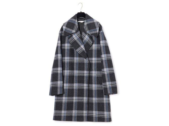 Stella Mc Cartney OVERSIZE CHECK FR40/42 Coats, Outerwear Wool Grey ref.174436