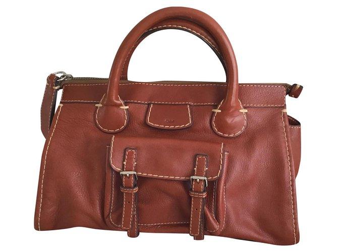 Chloé Edith Handbags Leather Chestnut ref.174607