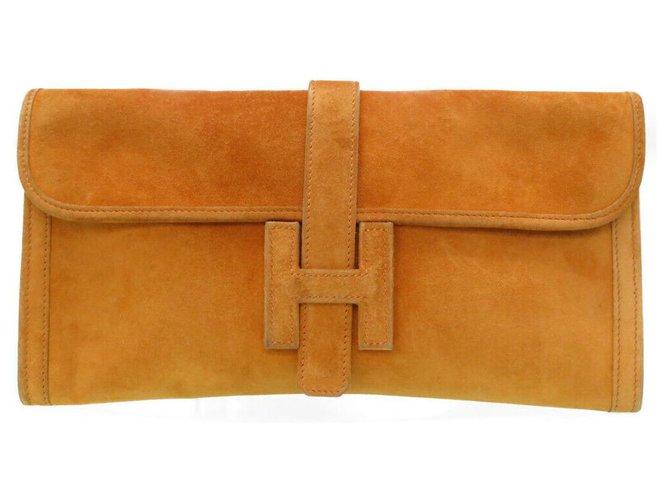 Hermès Hermes Jige Clutch bags Suede Orange ref.174612
