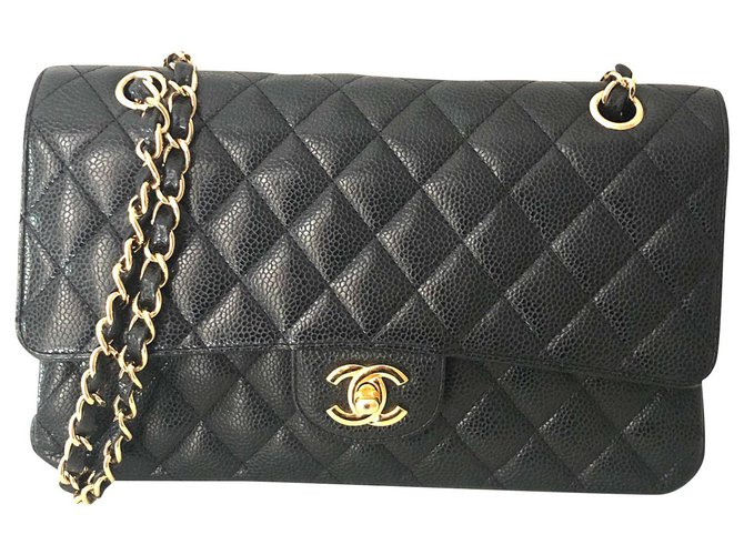Sacs à main Chanel Classique/Timeless Cuir d'agneau Noir ref.174672