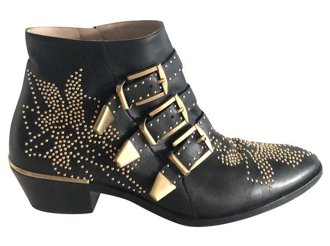 Chloé Chloe Susanna Ankle Boots Leather Black ref.174695