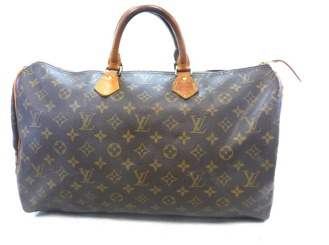 Louis Vuitton Speedy 40 Monogram Handbags Leather Brown ref.174705