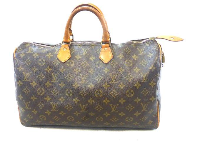 Louis Vuitton Speedy 40 Monogram Handbags Leather Brown ref.174708