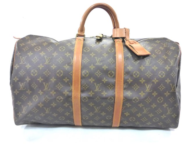 Louis Vuitton keepall 55 Monogram Travel bag Leather Brown ref.174710