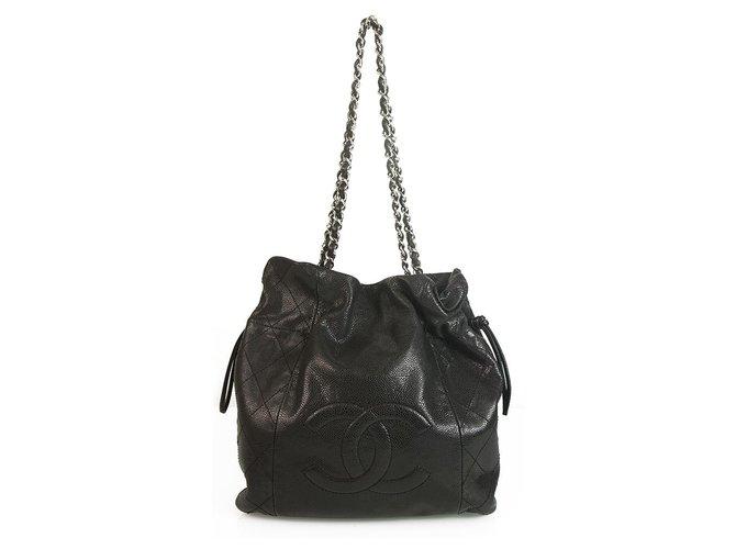 Chanel CHANEL Boho Style Caviar 31 Drawstring Small Tote Black Large Stitched CC Handbags Leather Black ref.174715