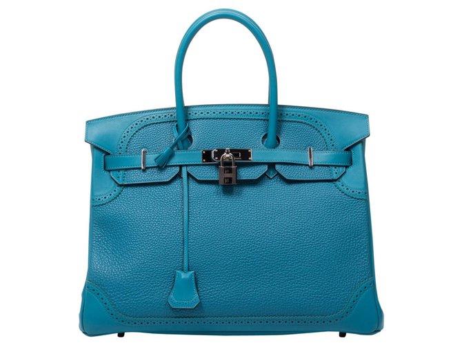 Hermès Birkin 35 Handbags Leather Turquoise ref.174740
